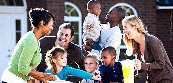 families at picnic