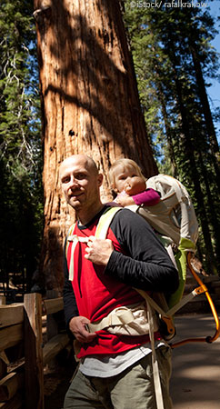 Dad with son in Redwoods